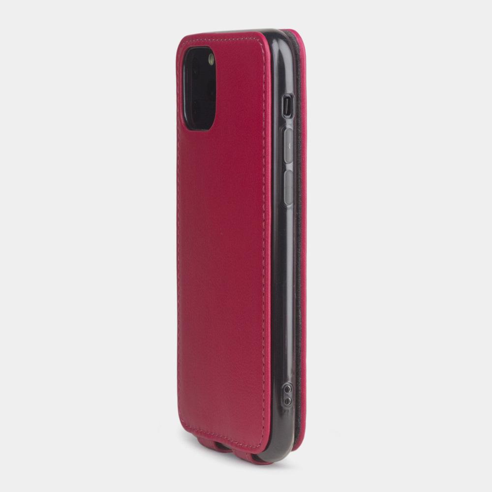 Чехол для iPhone 11 Pro из натуральной кожи теленка, малинового цвета