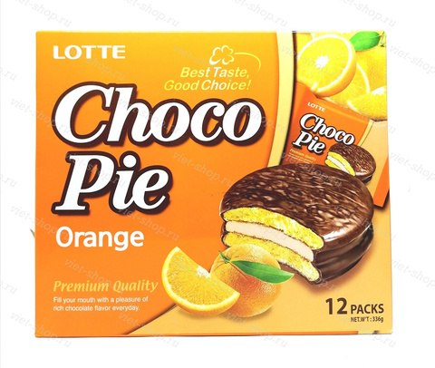 Пирожное LOTTE Choco Pie orange, Корея, 336 гр.