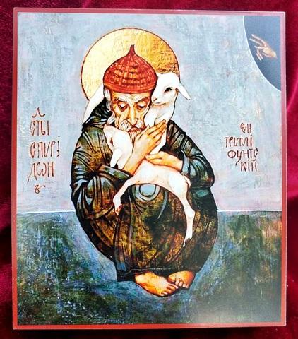 Икона святой Спиридон Тримифунтский с овечками на дереве на левкасе мастерская Иконный Дом