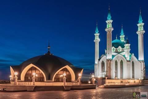 Алмазная Мозаика 40x50 Вечерний вид на Мечеть Кул Шариф  (арт. GA78108)