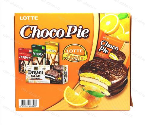 Пирожное LOTTE Choco Pie orange, Корея, 336 гр.