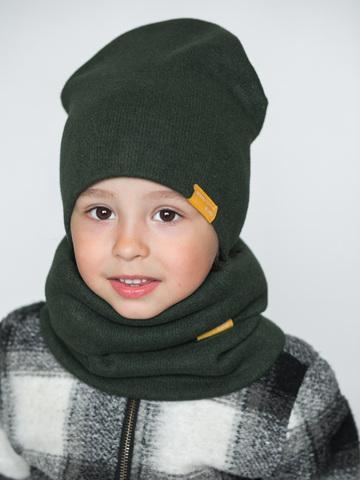 Детский снуд-горловинка из итальянской шерсти зелёный