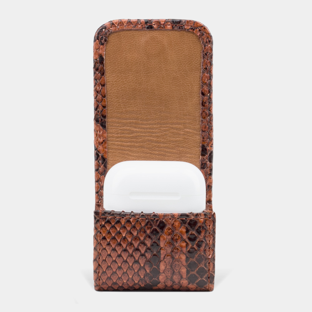 AirPods leather case - gold python