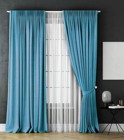 Комплект штор и тюль Грета голубой