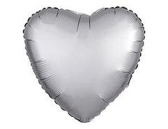 Шар сердце сатин серебро