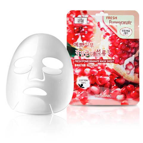 Тканевая маска для лица ГРАНАТ Fresh Pomegranate Mask Sheet, 3W CLINIC