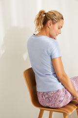 Синя футболка з бавовни з круглою горловиною на ґудзиках