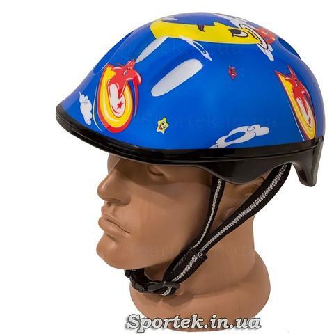Дитячий велосипедний шолом, синій з місяцем і сонечком