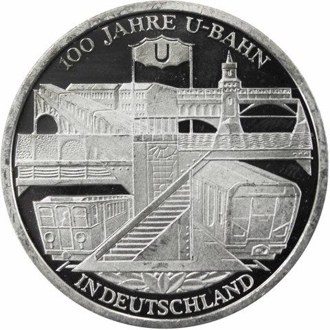 10 евро. 100 лет Берлинскому метро. Германия. Серебро. 2002 год. PROOF
