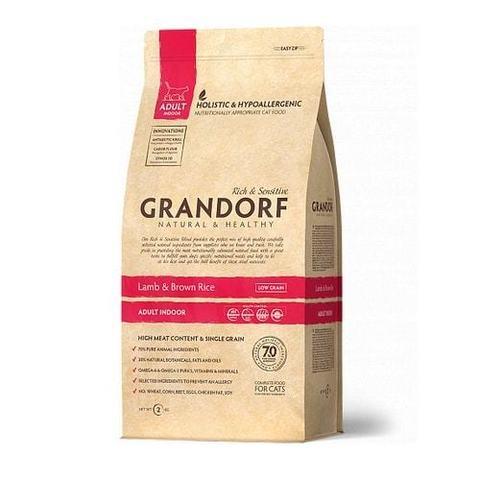 2 кг. GRANDORF Сухой низкозерновой корм для домашних кошек с ягненком и рисом Lamb&Rice Adult Indoor