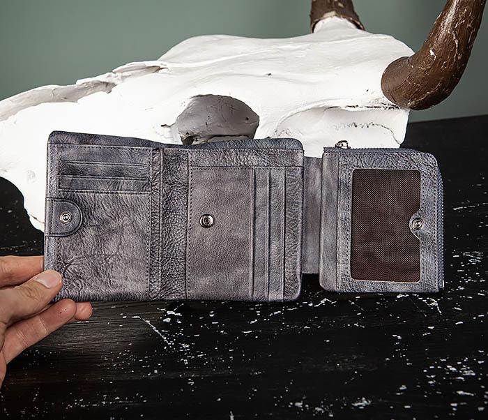 WL329-3 Мужское портмоне из натуральной кожи с монетницей фото 05