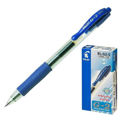 Ручка гелевая автоматическая Pilot BL-G2-5 синяя (толщина линии 0.3 мм)