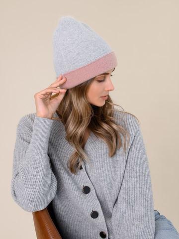 Женская шапка бежево-розового цвета из ангоры - фото 2