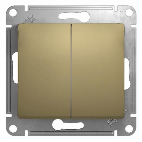 Выключатель двухклавишный, 10АХ. Цвет Титан. Schneider Electric Glossa. GSL000451