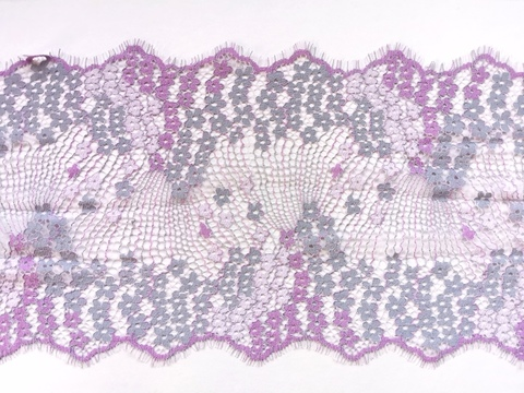Кружево шантильи с ресничками, 22 см, лаванда/серый, купон (3м)