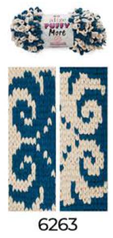 Купить Пряжа Пуффи Море цвет 6263 телесный и морская волна | Интернет-магазин пряжи «Пряха»