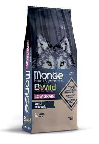 Monge Dog BWild Low Grain Сухой корм для взрослых собак всех пород из мяса гуся, низкозерновой