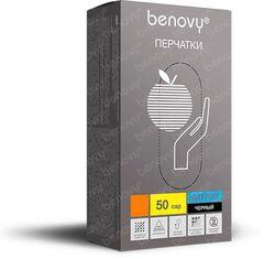 Перчатки нитриловые Benovy Черные 50пар (100шт....