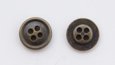 Пуговица металлическая, двусторонняя, цвет латунь, 12 мм