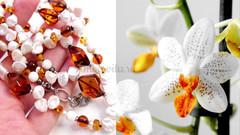 бусы с янтарём и жемчугом Орхидея