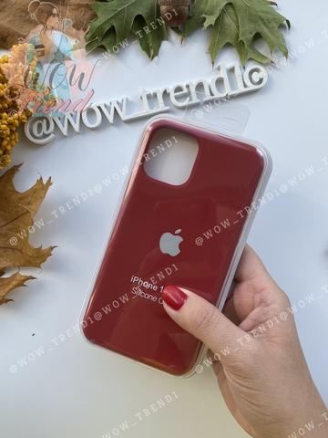 Чехол iPhone 11 Pro Silicone Case /camellia white/ винный 1:1