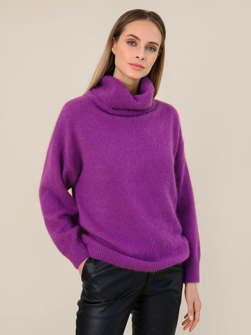 Женский свитер фиолетового цвета из ангоры - фото 2