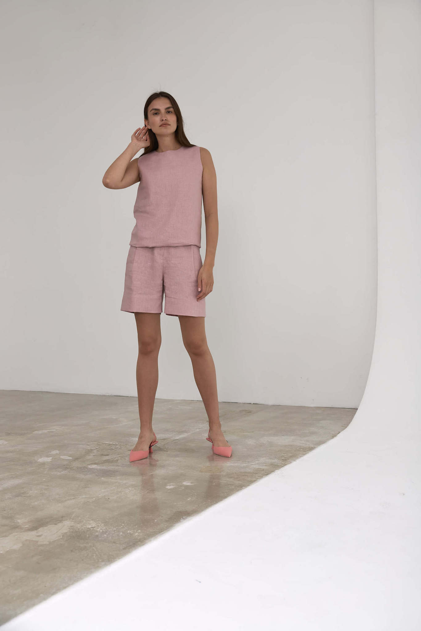Топ-туника, лен розовая пудра