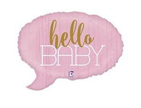 Фольгированный шар HELLO BABY Спич бабл розовая