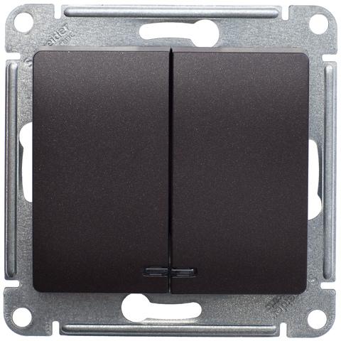 Выключатель двухклавишный с подсветкой, 10АХ. Цвет Шоколад. Schneider Electric Glossa. GSL000853