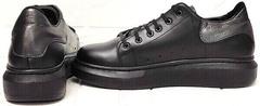 Кожаные кроссовки женские черные EVA collection 0721 All Black.