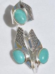 Алиота (кольцо + серьги из серебра)