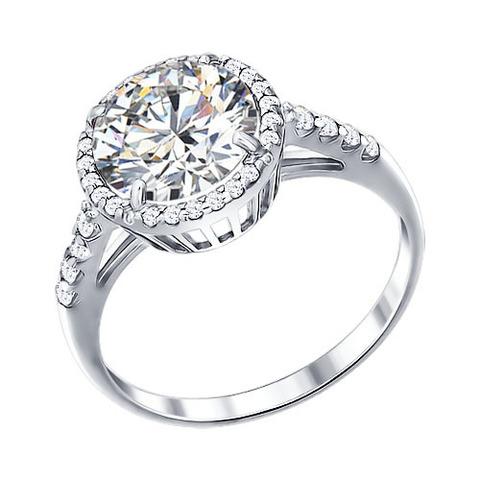 94011237 - Серебряное кольцо с крупным фианитом