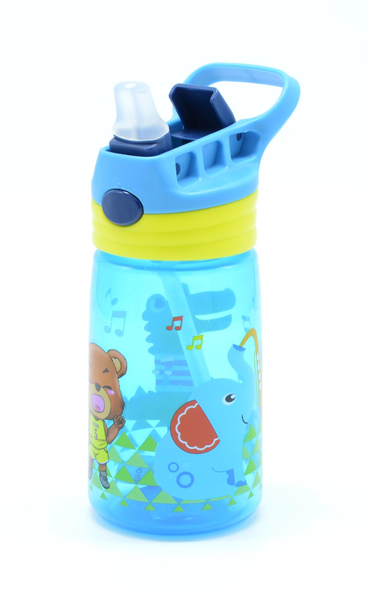 Детская бутылка для воды с выкидной трубочкой 450 мл. голубая