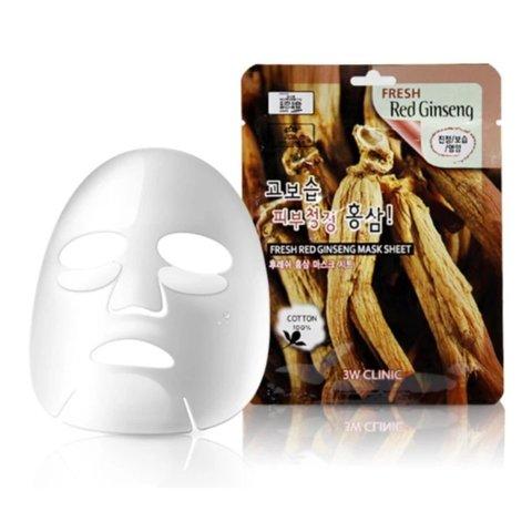 Тканевая маска для лица КРАСНЫЙ ЖЕНЬШЕНЬ Fresh Red Ginseng Mask Sheet, 3W CLINIC