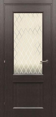 Дверь Краснодеревщик 3324, цвет чёрный дуб, остекленная
