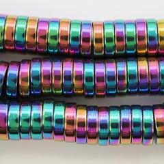 Бусина Гематит (искусств), рондель, цвет - микс, 8х2 мм, нить