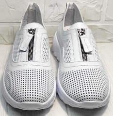 Туфли с перфорацией женские летние кроссовки без шнурков Wollen P029-259-02 All White.