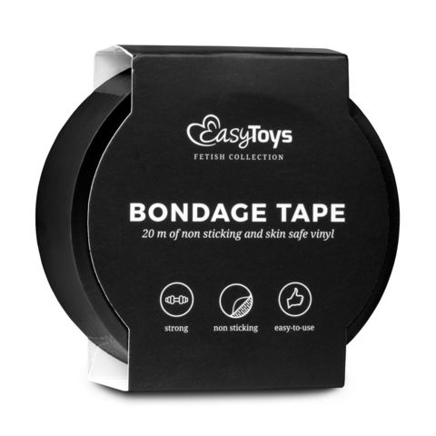 Черная лента для бондажа Easytoys Bondage Tape - 20 м.