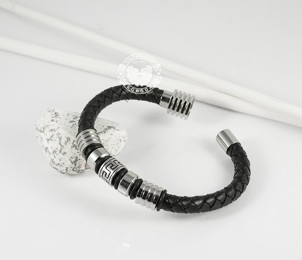 BM361 Массивный мужской браслет из кожаного шнура и стали (19 см) фото 02
