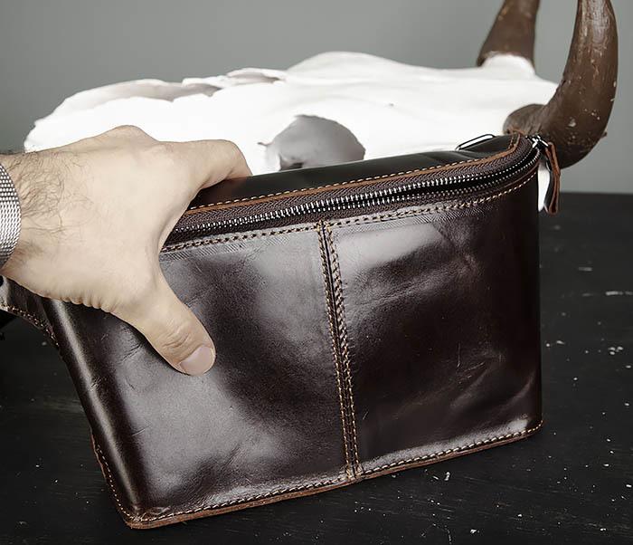 BAG473-2 Мужская сумка на пояс из натуральной кожи фото 06