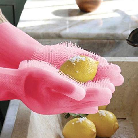 Силиконовые перчатки c ёршиком