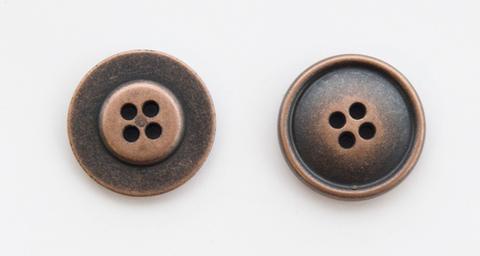 Пуговица металлическая, двусторонняя, цвет медный, 23 мм