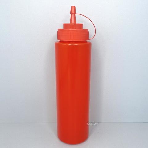 Диспенсер пластиковый для соусов и сиропов 700 мл красный