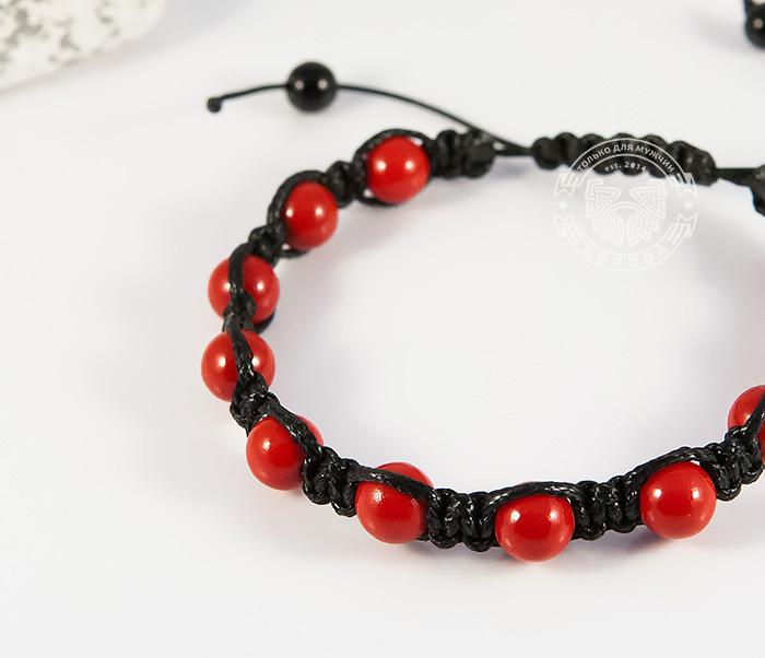 BS712 Яркий мужской браслет шамбала из красного коралла фото 03