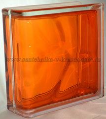 Торцевой стеклоблок оранжевый окрашенный изнутри Vitrablok 19x19x8