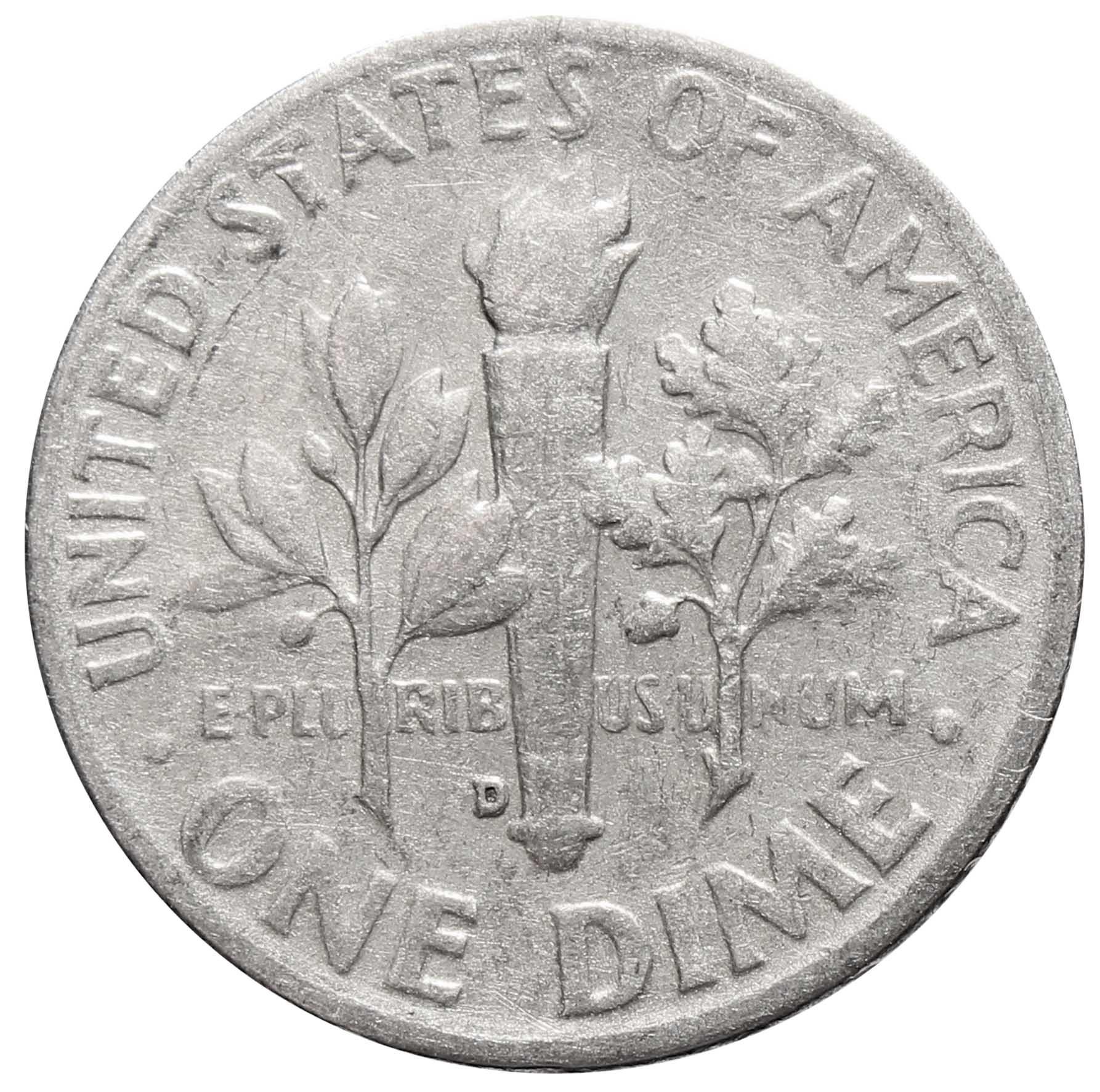 1 дайм (10 центов) 1957. США (D) VF Серебро
