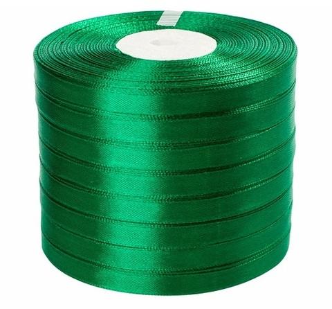 Лента атласная (размер: 10 мм х 50 ярд) Цвет: зеленая