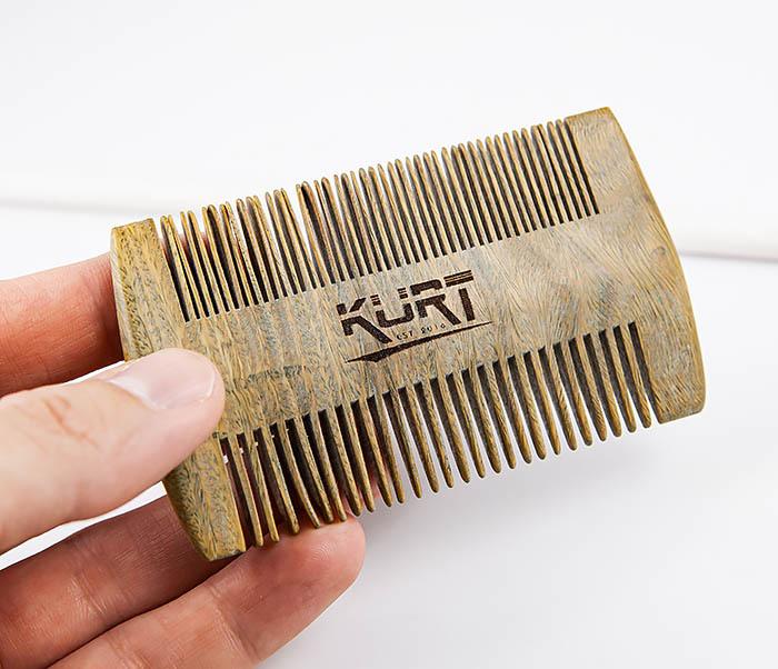 RAZ454 Деревянный двухсторонний гребень для бороды фото 02