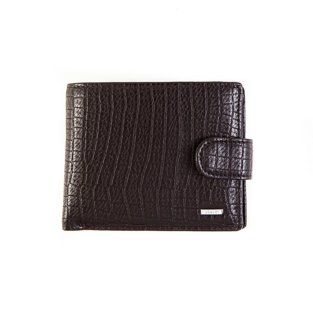 Недорогое качественное портмоне книжка коричневое мужское из искусственной кожи заводского производства Coscet B442-02B