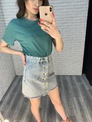 юбка джинсовая с пуговицами впереди недорого